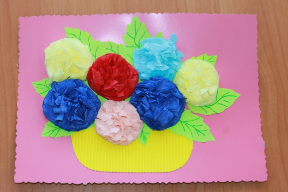 Открытки на день рождения с цветами из салфеток